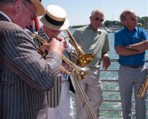 Band playing on the upper aft deck - Party on board Princess Caroline